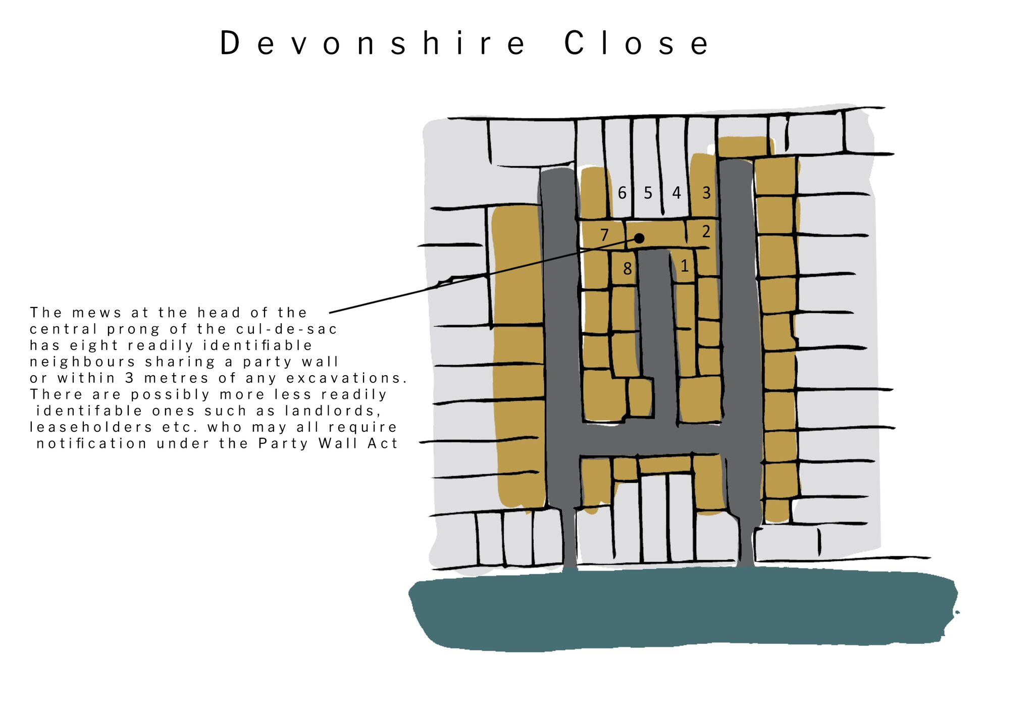 Fig 51A/1:Devonshire Close – Diagram showing Mews in close proximity of a development site