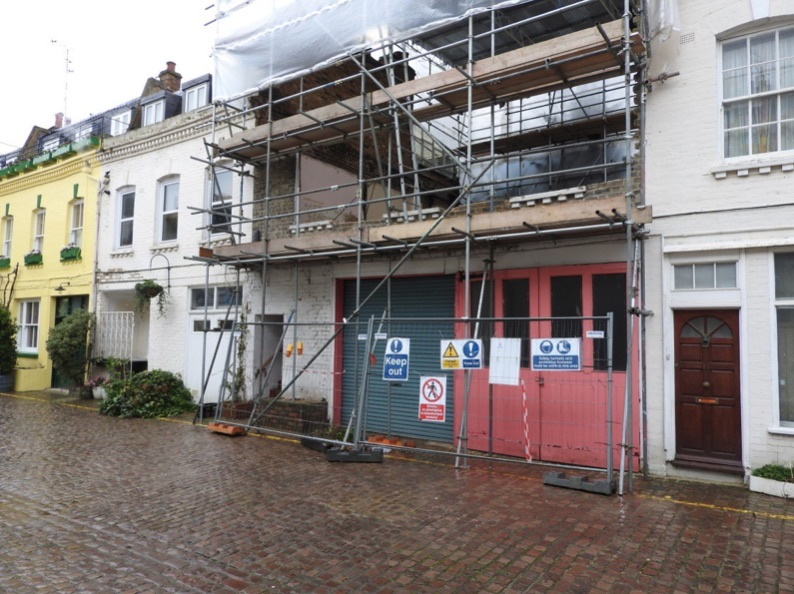 Fig 51C/1 – Photo showing premature commencement of works to a Mews When a Mews is demolished without prior agreement or consent the Local Authority can intervene to stop unauthorised work and classify the Mews as a dangerous structure.